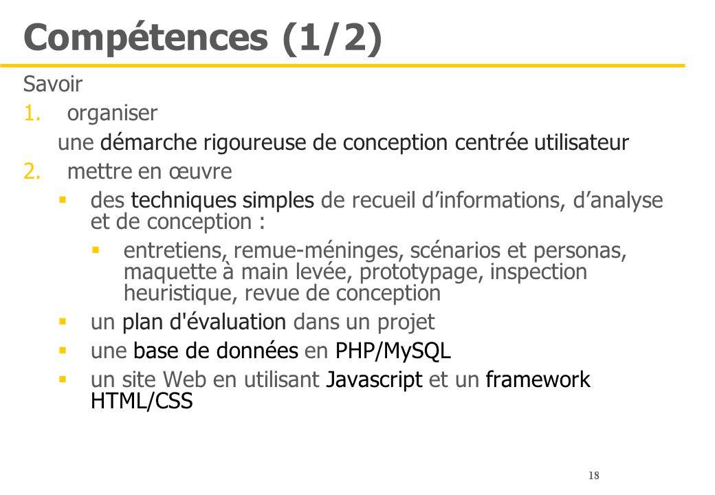 Compétences (1/2) Savoir organiser