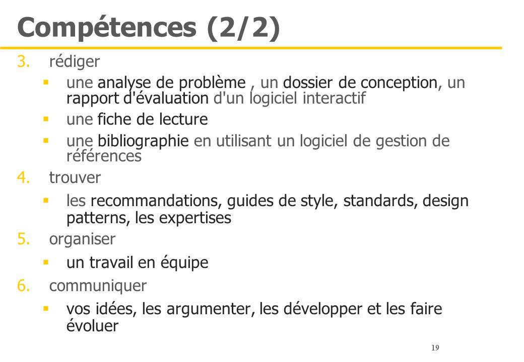 Compétences (2/2) rédiger
