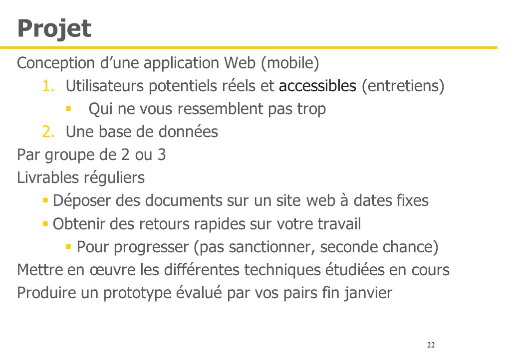 Projet Conception d'une application Web (mobile)
