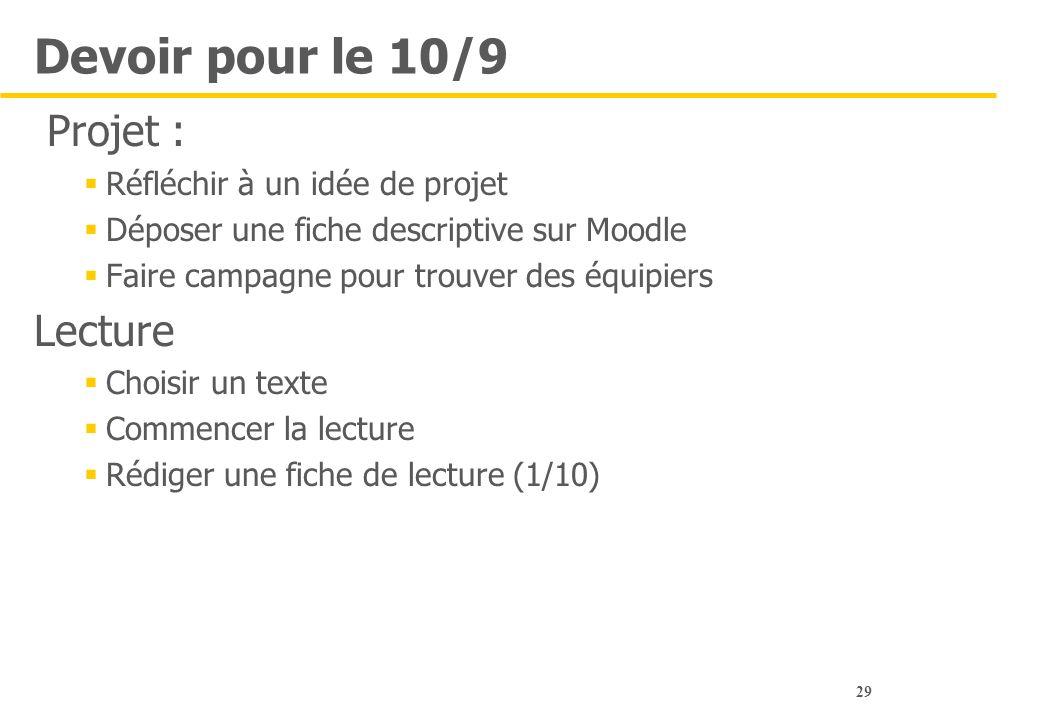 Devoir pour le 10/9 Projet : Lecture Réfléchir à un idée de projet