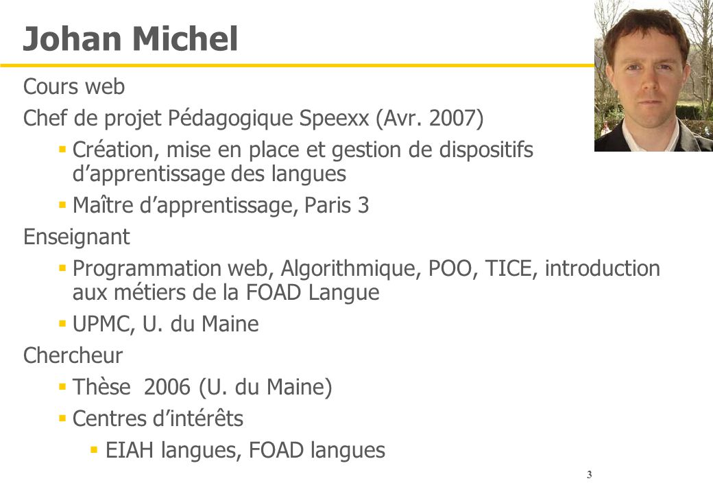Johan Michel Cours web Chef de projet Pédagogique Speexx (Avr. 2007)