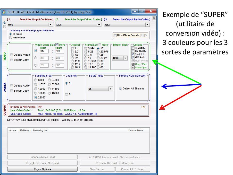 Exemple de SUPER (utilitaire de conversion vidéo) : 3 couleurs pour les 3 sortes de paramètres