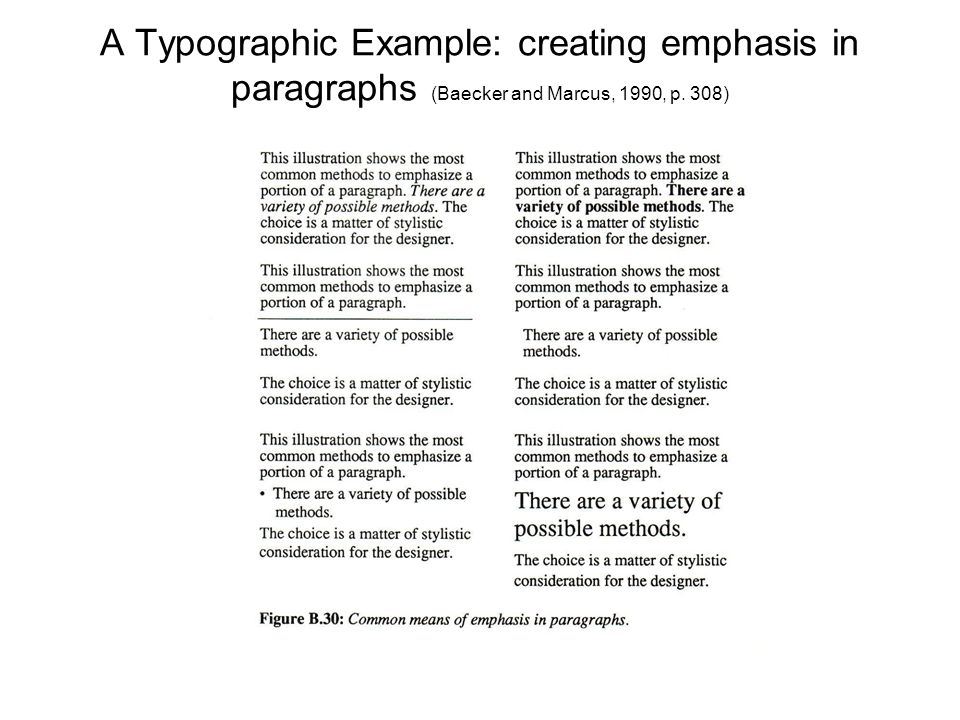 A Typographic Example: creating emphasis in paragraphs (Baecker and Marcus, 1990, p. 308)