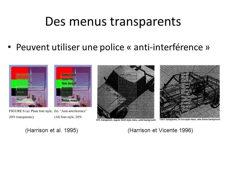 Des menus transparents