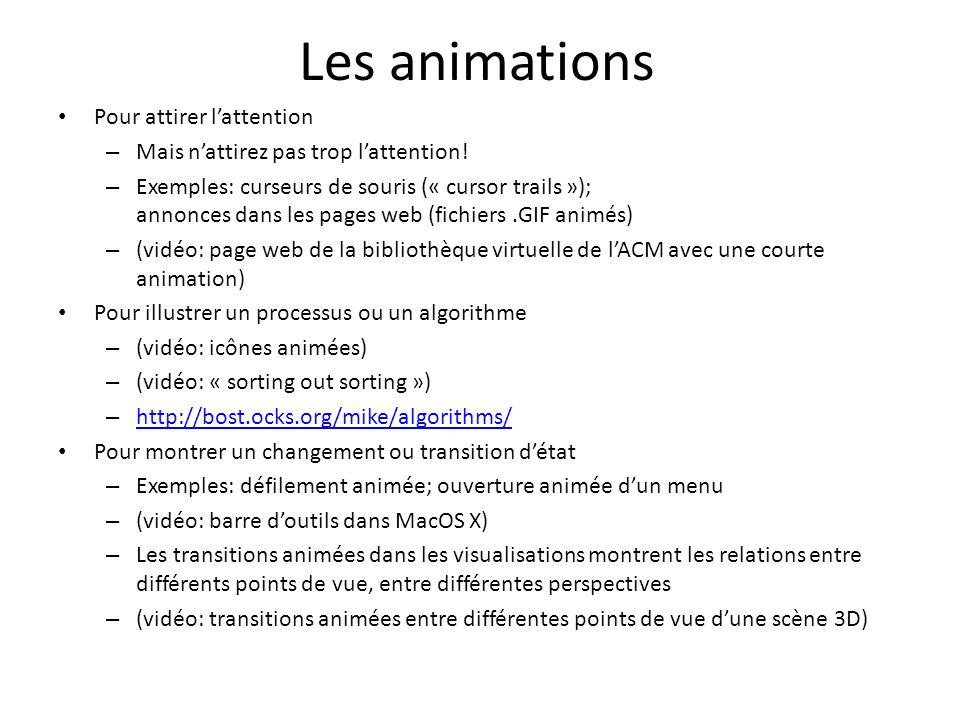 Les animations Pour attirer l'attention