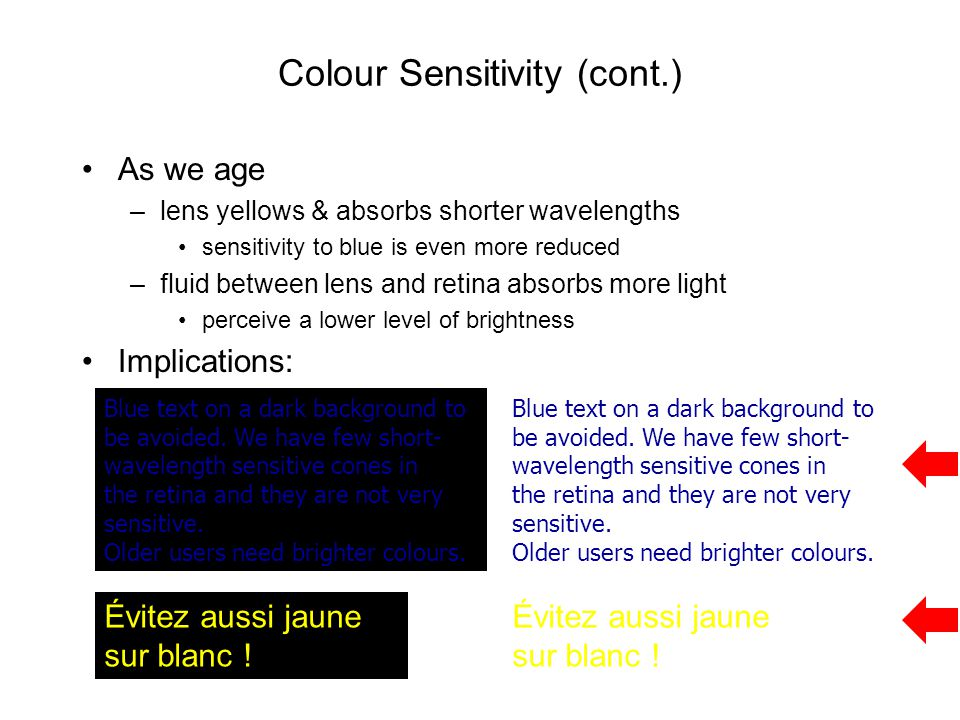 Colour Sensitivity (cont.)
