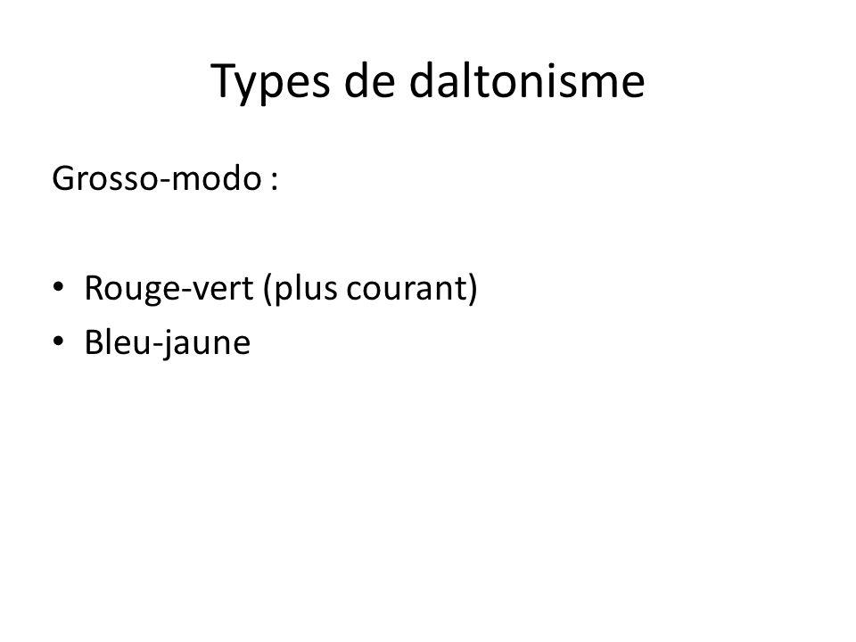 Types de daltonisme Grosso-modo : Rouge-vert (plus courant) Bleu-jaune