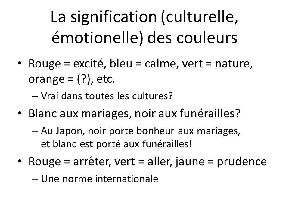 La signification (culturelle, émotionelle) des couleurs
