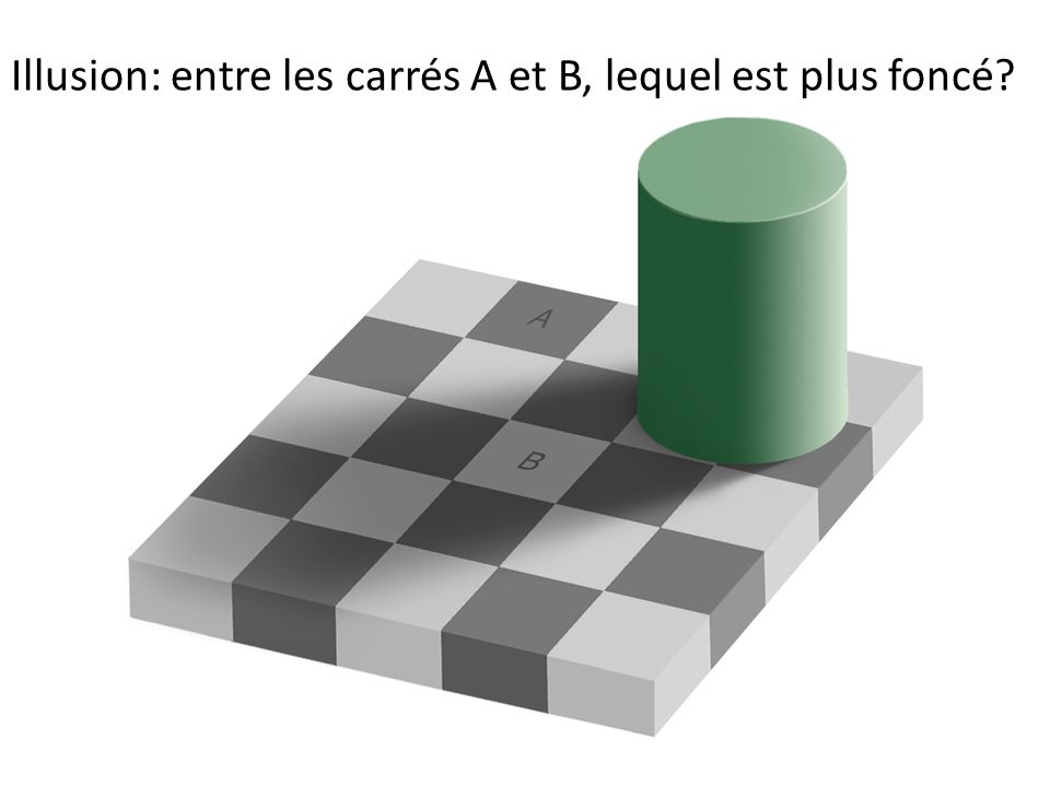 Illusion: entre les carrés A et B, lequel est plus foncé