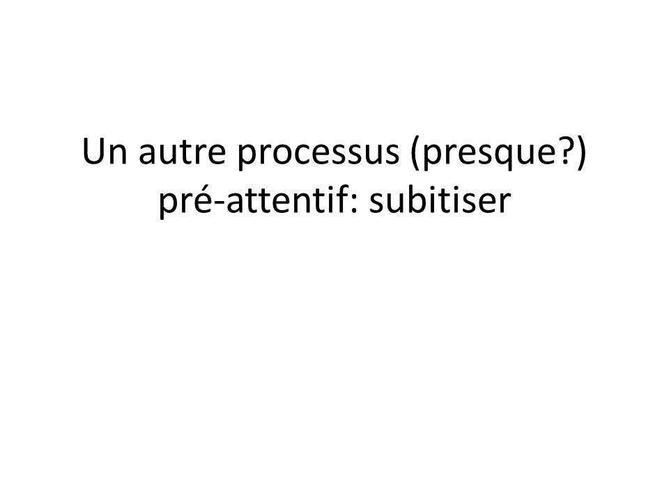 Un autre processus (presque ) pré-attentif: subitiser