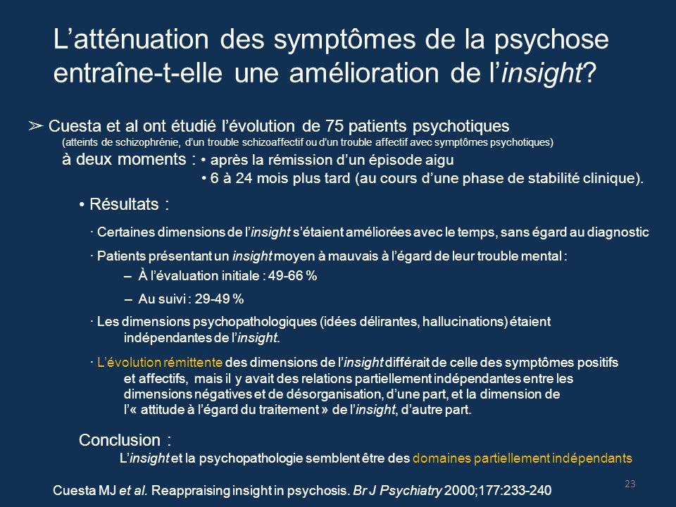 L'atténuation des symptômes de la psychose entraîne-t-elle une amélioration de l'insight