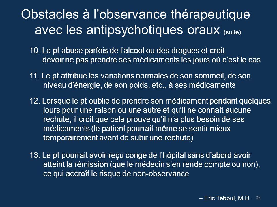Obstacles à l'observance thérapeutique