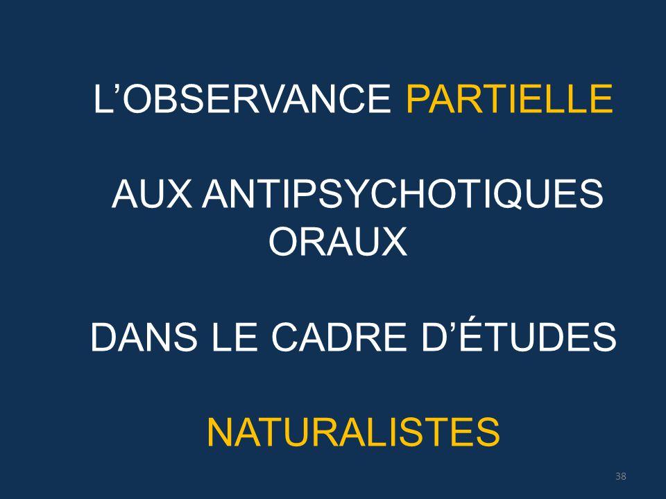L'OBSERVANCE PARTIELLE AUX ANTIPSYCHOTIQUES ORAUX