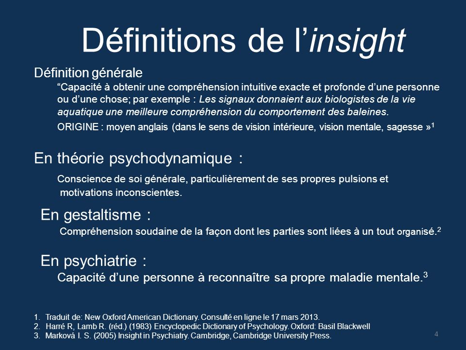 Définitions de l'insight