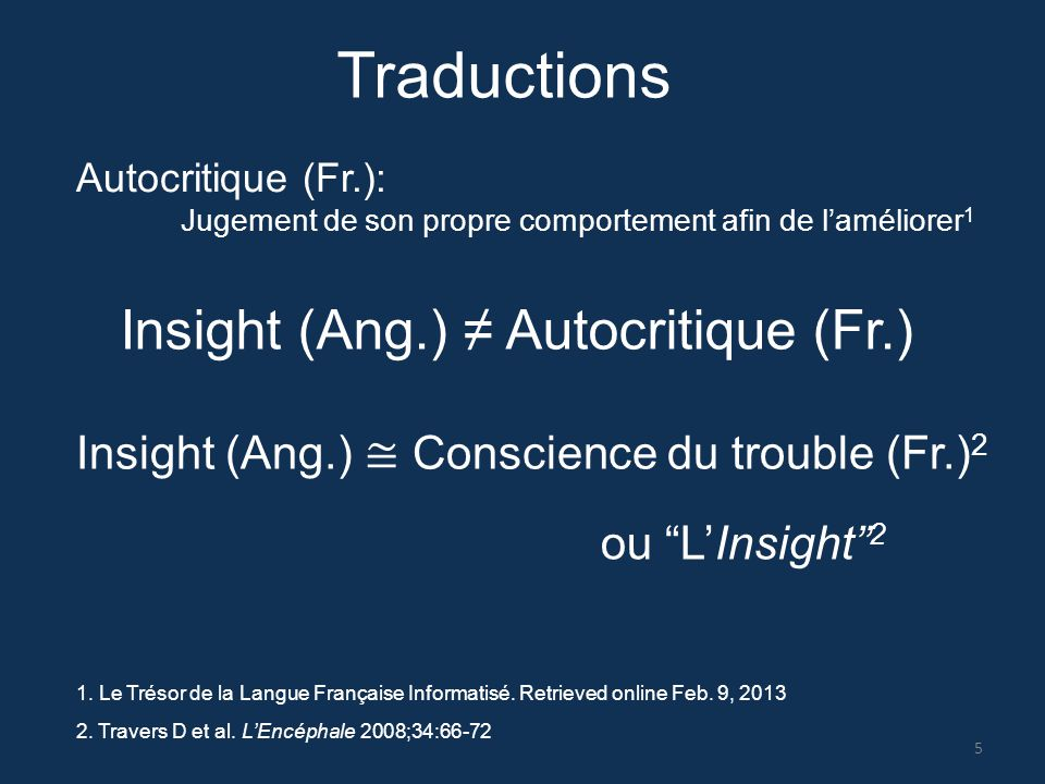 Traductions Insight (Ang.) ≠ Autocritique (Fr.)