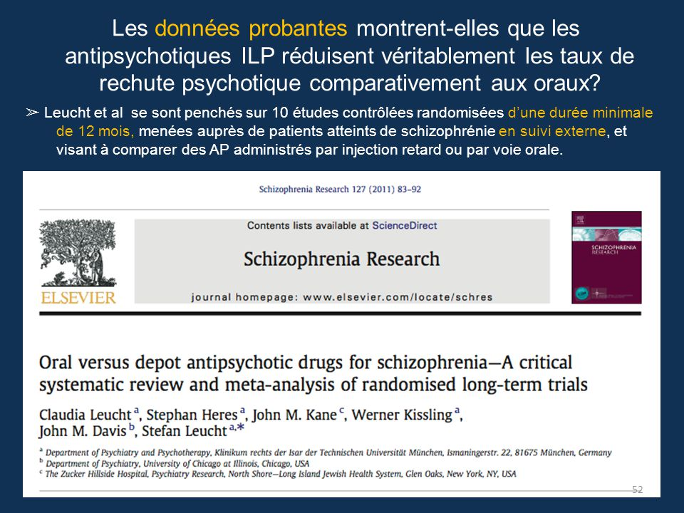 Les données probantes montrent-elles que les antipsychotiques ILP réduisent véritablement les taux de rechute psychotique comparativement aux oraux