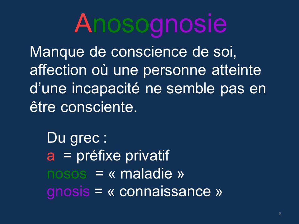 Anosognosie Manque de conscience de soi, affection où une personne atteinte d'une incapacité ne semble pas en être consciente.