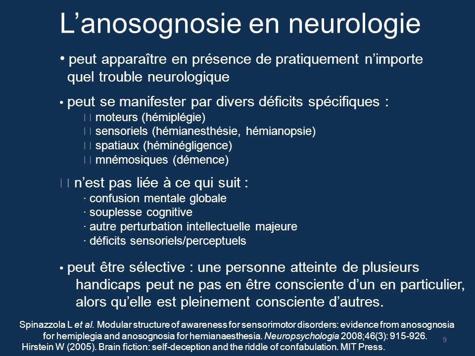 L'anosognosie en neurologie