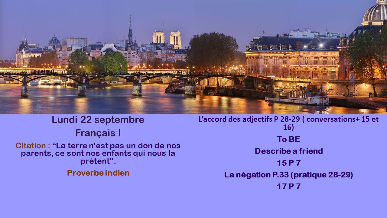 Lundi 22 septembre Français I