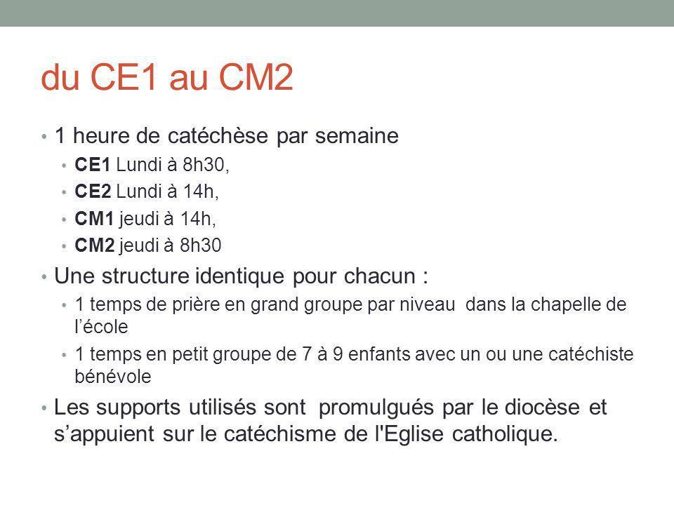 du CE1 au CM2 1 heure de catéchèse par semaine