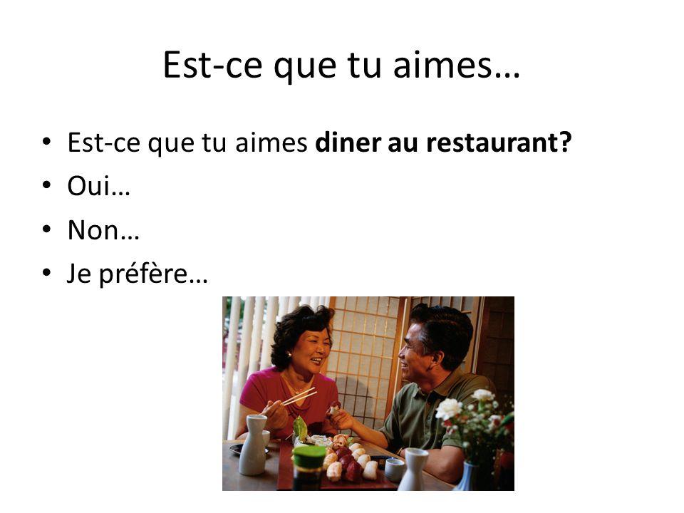 Est-ce que tu aimes… Est-ce que tu aimes diner au restaurant Oui…
