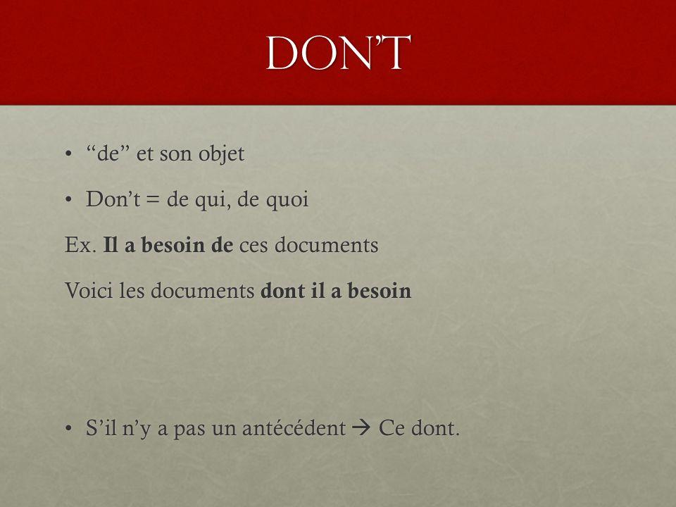 Don't de et son objet Don't = de qui, de quoi