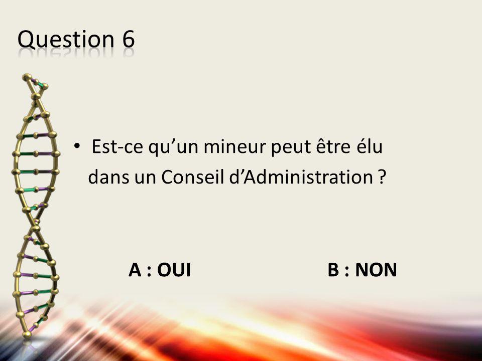 Question 6 Est-ce qu'un mineur peut être élu