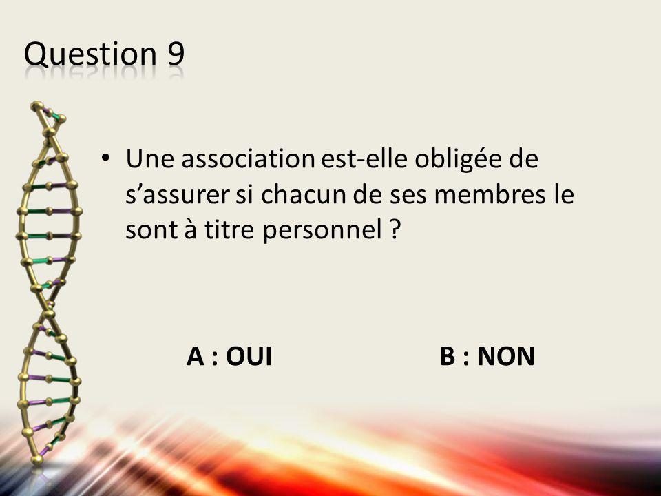Question 9 Une association est-elle obligée de s'assurer si chacun de ses membres le sont à titre personnel