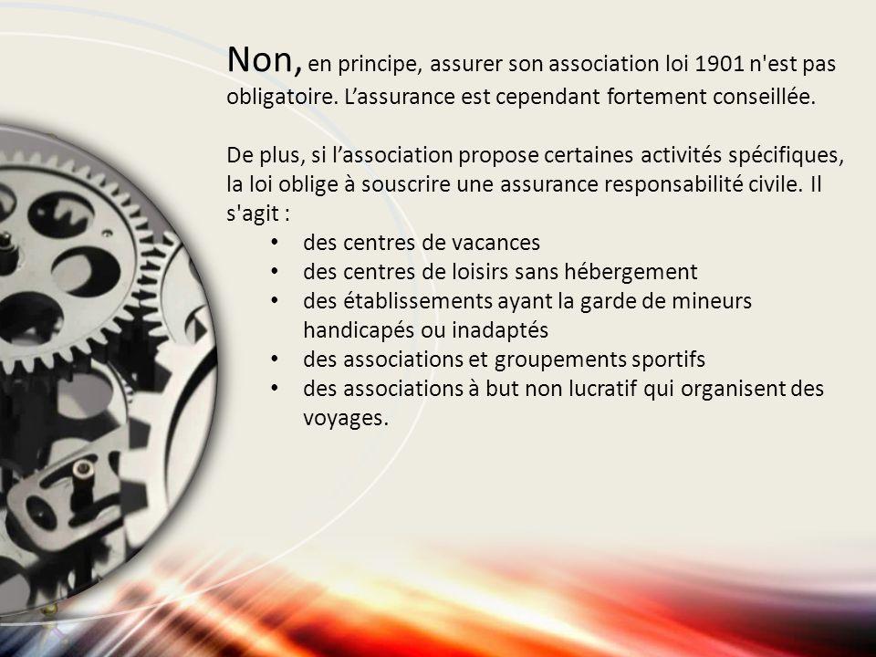 Non, en principe, assurer son association loi 1901 n est pas obligatoire. L'assurance est cependant fortement conseillée.