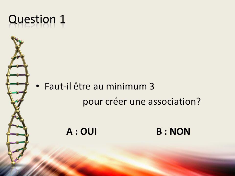 Question 1 Faut-il être au minimum 3 pour créer une association