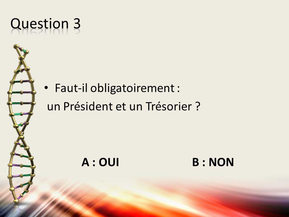 Question 3 Faut-il obligatoirement : un Président et un Trésorier