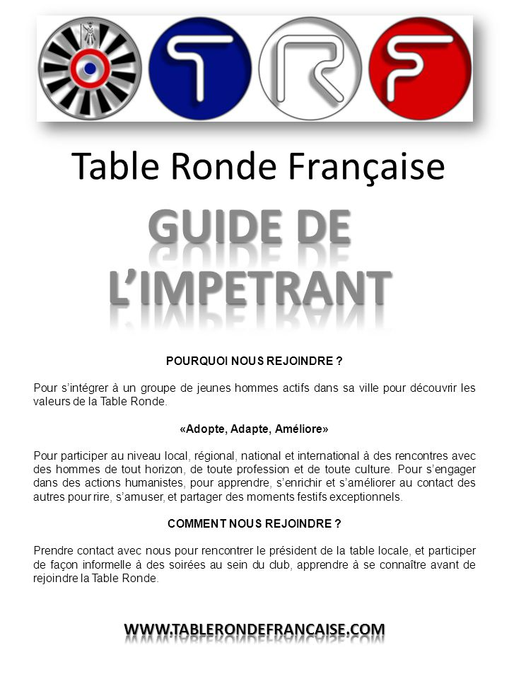GUIDE DE L'IMPETRANT Table Ronde Française WWW.TABLERONDEFRANCAISE.COM