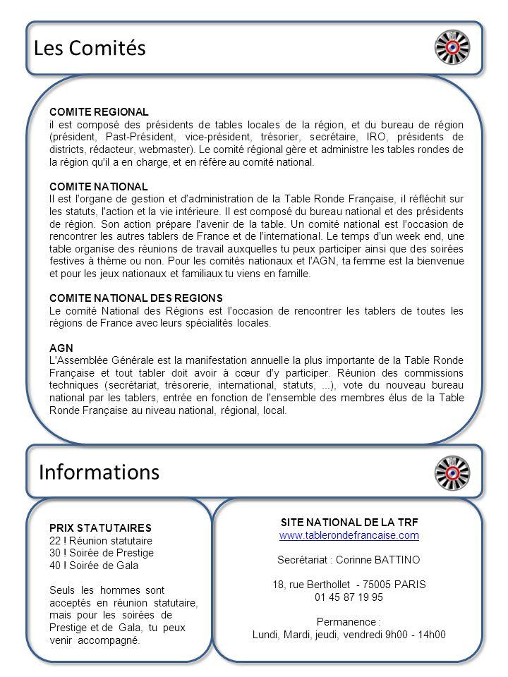 Les Comités Informations COMITE REGIONAL