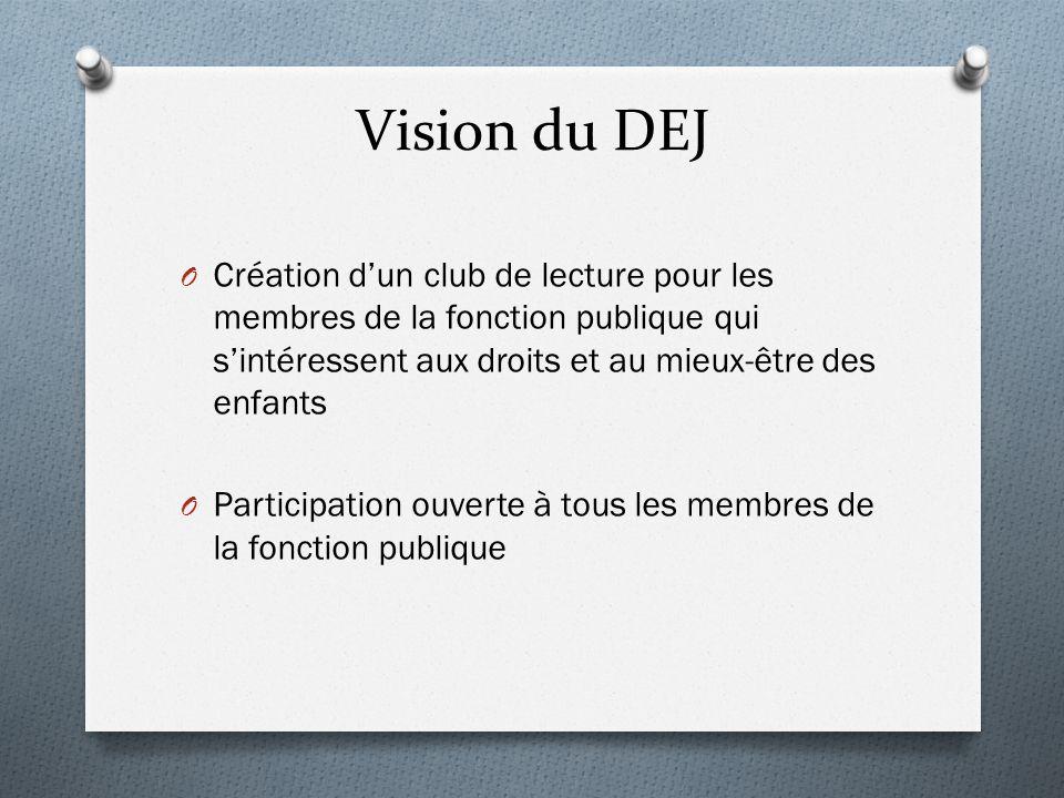 Vision du DEJ Création d'un club de lecture pour les membres de la fonction publique qui s'intéressent aux droits et au mieux-être des enfants.