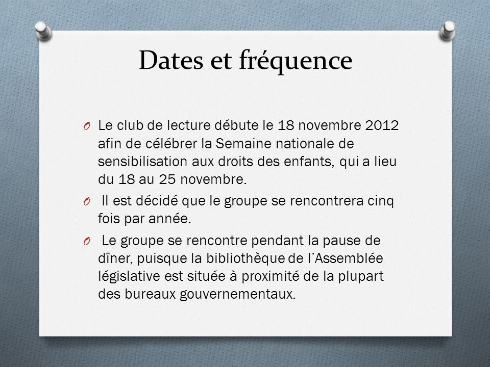 Dates et fréquence