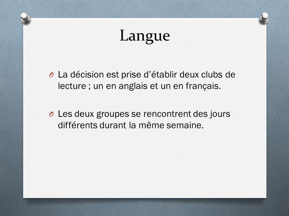 Langue La décision est prise d'établir deux clubs de lecture ; un en anglais et un en français.
