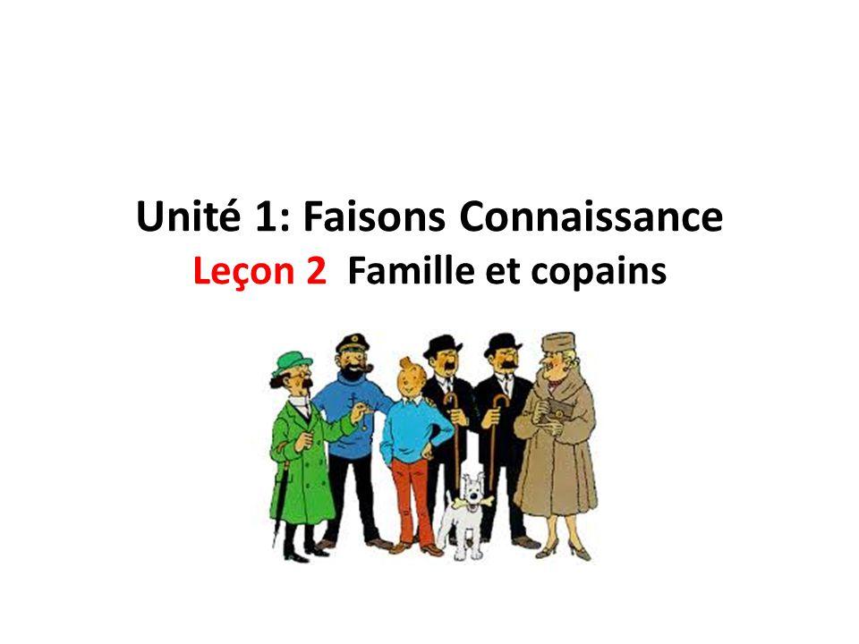 Unité 1: Faisons Connaissance Leçon 2 Famille et copains
