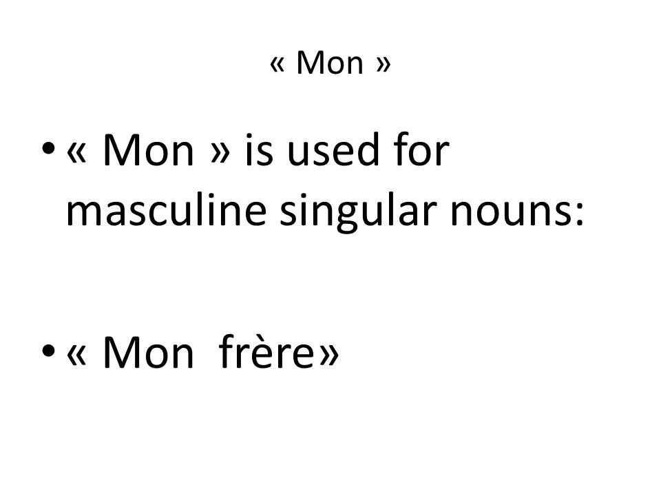 « Mon » is used for masculine singular nouns: