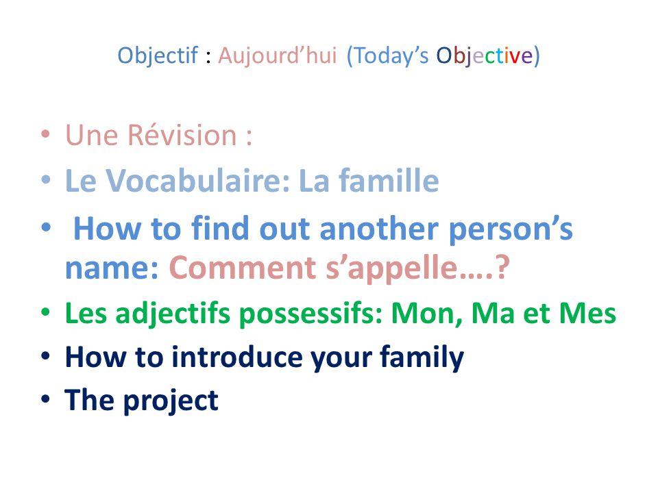 Objectif : Aujourd'hui (Today's Objective)