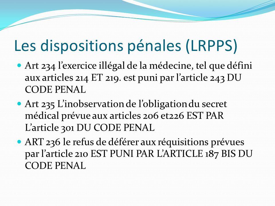 Les dispositions pénales (LRPPS)