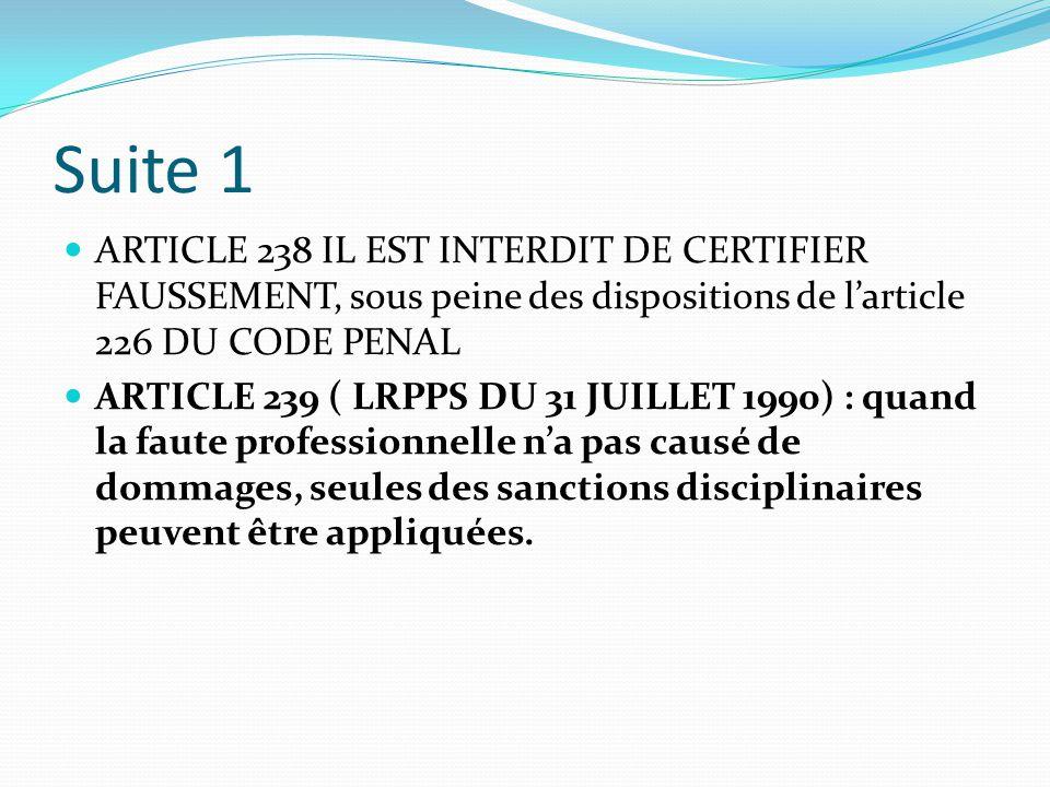 Suite 1 ARTICLE 238 IL EST INTERDIT DE CERTIFIER FAUSSEMENT, sous peine des dispositions de l'article 226 DU CODE PENAL.