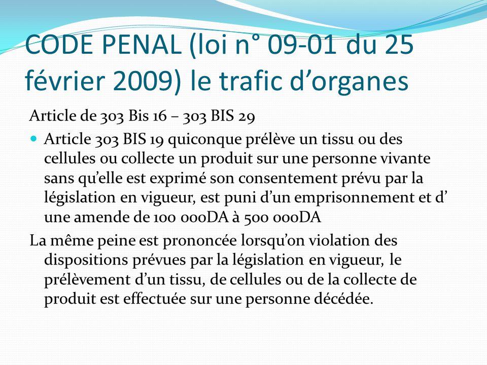 CODE PENAL (loi n° 09-01 du 25 février 2009) le trafic d'organes