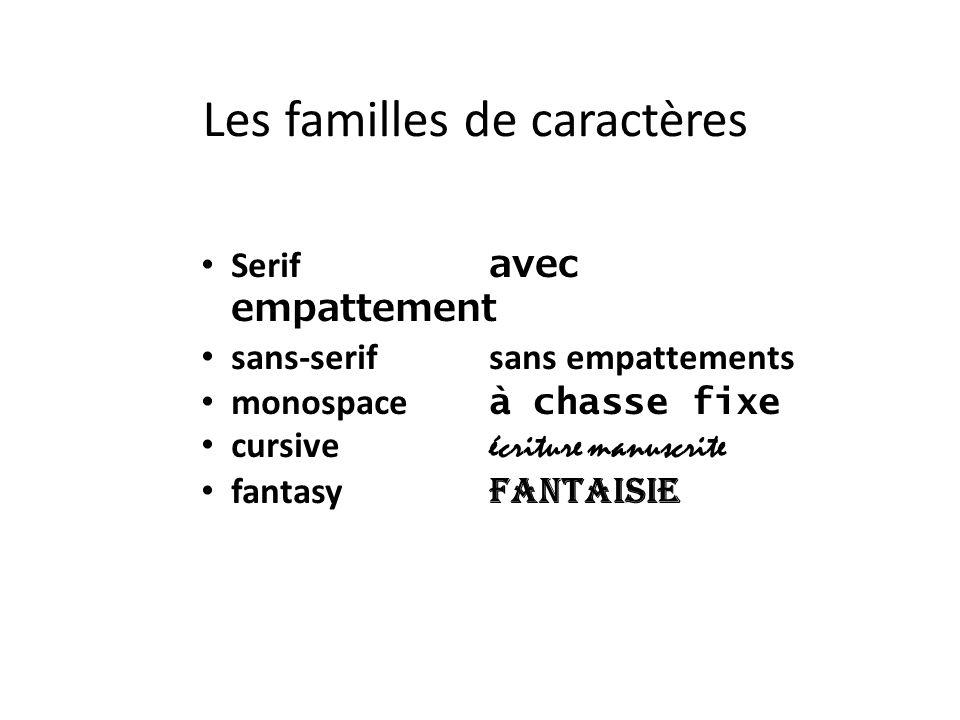 Les familles de caractères