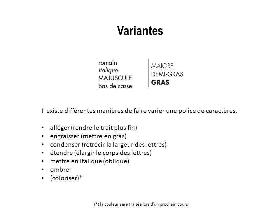 Variantes Il existe différentes manières de faire varier une police de caractères. alléger (rendre le trait plus fin)