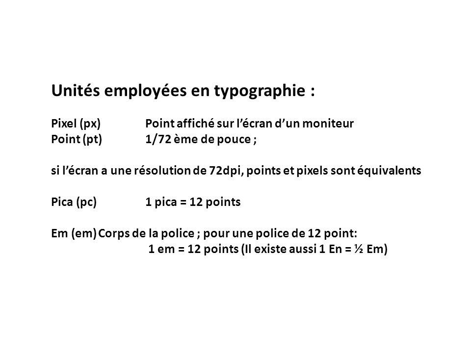 Unités employées en typographie :