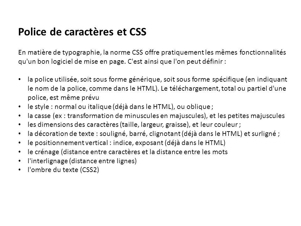 Police de caractères et CSS