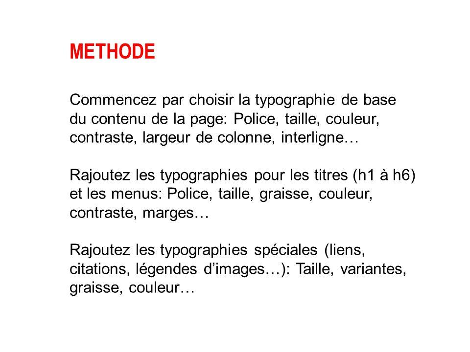 METHODE Commencez par choisir la typographie de base du contenu de la page: Police, taille, couleur, contraste, largeur de colonne, interligne…