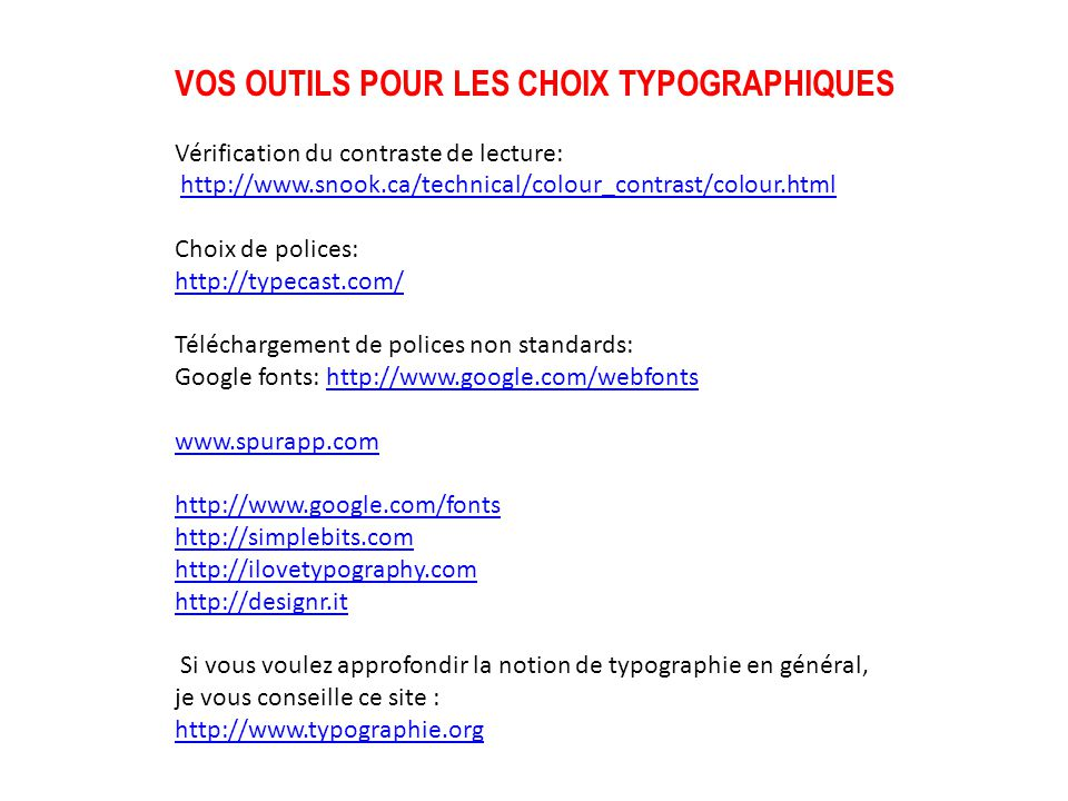 VOS OUTILS POUR LES CHOIX TYPOGRAPHIQUES
