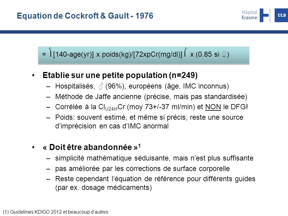 Equation de Cockroft & Gault - 1976