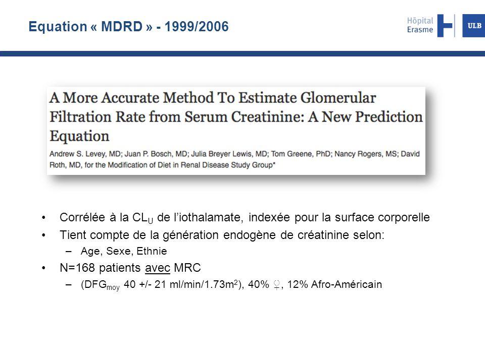 Equation « MDRD » - 1999/2006 Corrélée à la CLU de l'iothalamate, indexée pour la surface corporelle.
